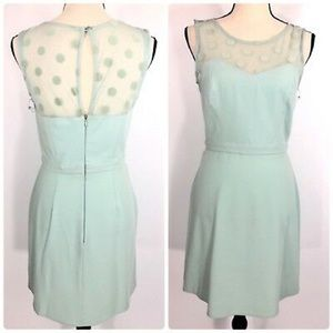 LC (NWT) Teal Polka Dot Sheer Neckline Dress